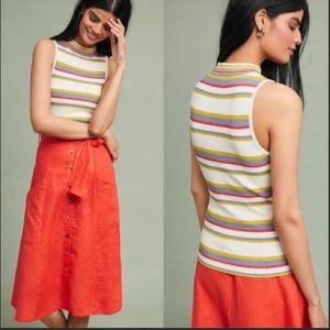 Anthropologie Moth Striped Ribbed Sweater Tank Top